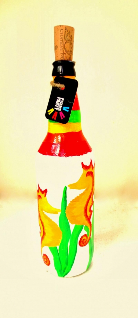 Yellow Moon Cats Hand Painted Glass Bottles | Craft by artist Rithika Kumar | Recycled Glass