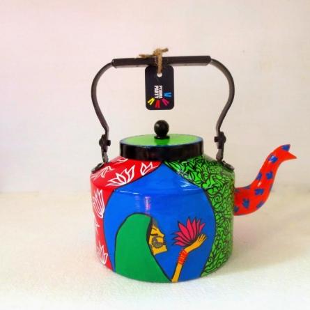 Lotus Tea Kettle | Craft by artist Rithika Kumar | Aluminium