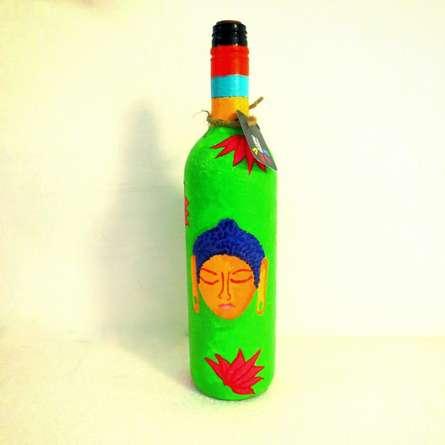 Rithika Kumar | Shades Of Buddha Leaf Green Hand Painted Glass Bottles Craft Craft by artist Rithika Kumar | Indian Handicraft | ArtZolo.com