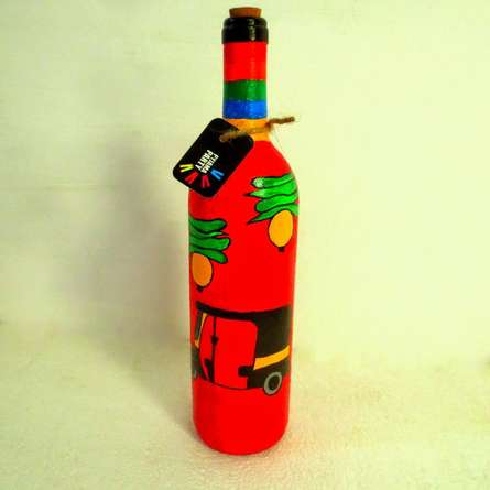 Rithika Kumar | Rickshaw Hand Painted Glass Bottles Craft Craft by artist Rithika Kumar | Indian Handicraft | ArtZolo.com