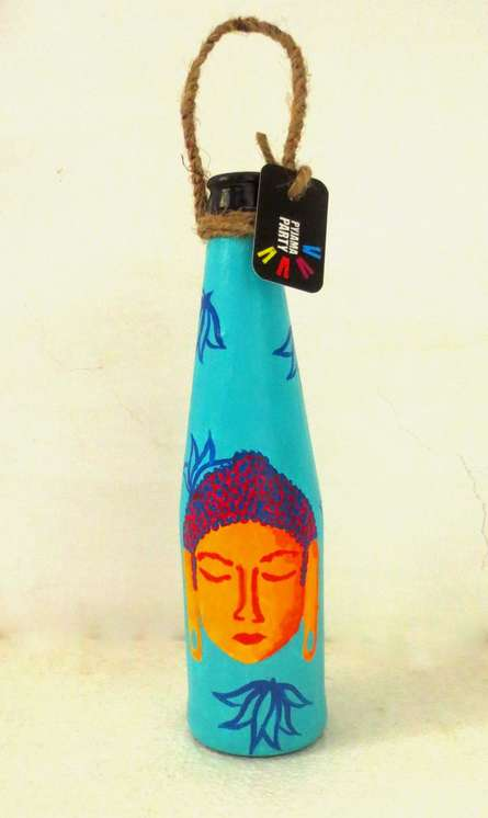 Bottle Planter Shades Of Buddha-Teal Blue | Craft by artist Rithika Kumar | Recycled Glass