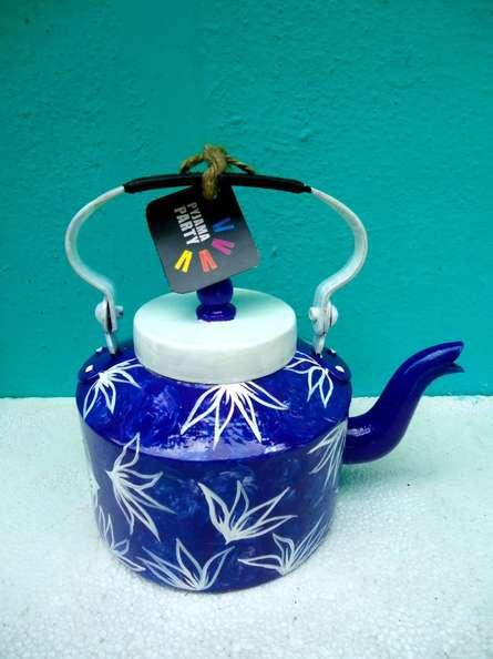 Indigo hues Tea Kettle | Craft by artist Rithika Kumar | Aluminium
