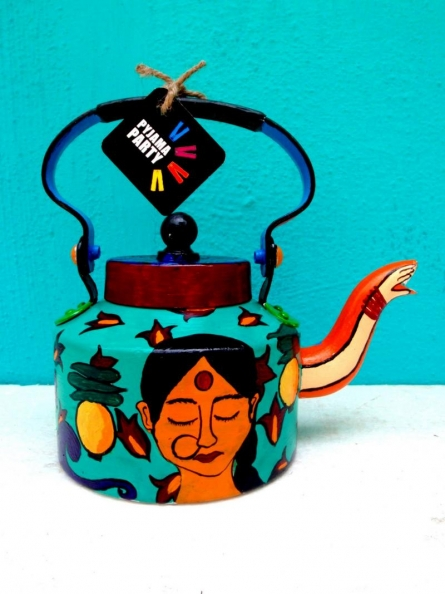 Rithika Kumar | Back to the Basics Limited Edition hand painted kettle Craft Craft by artist Rithika Kumar | Indian Handicraft | ArtZolo.com