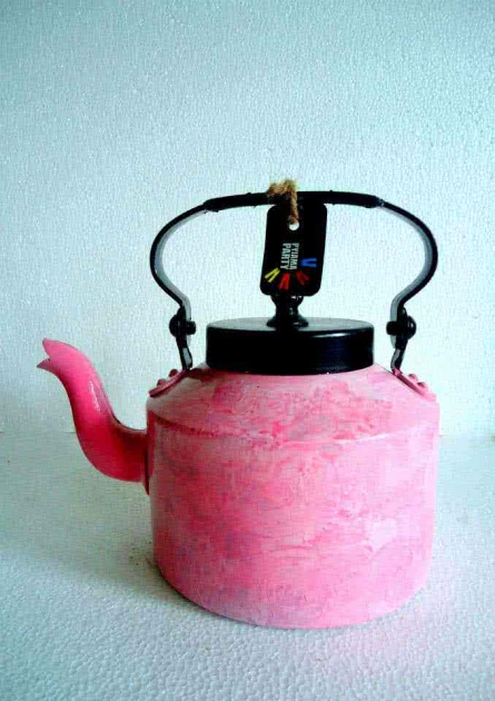 Pink Waterfall Textured Tea Kettle | Craft by artist Rithika Kumar | Aluminium
