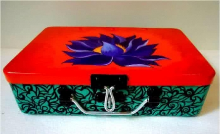 Rithika Kumar | Purple Lotus Trinket Box Craft Craft by artist Rithika Kumar | Indian Handicraft | ArtZolo.com