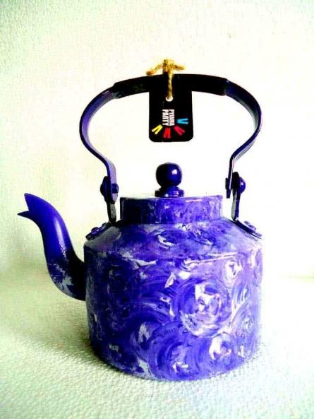 Rithika Kumar | Purple Rain Textured Tea Kettle Craft Craft by artist Rithika Kumar | Indian Handicraft | ArtZolo.com