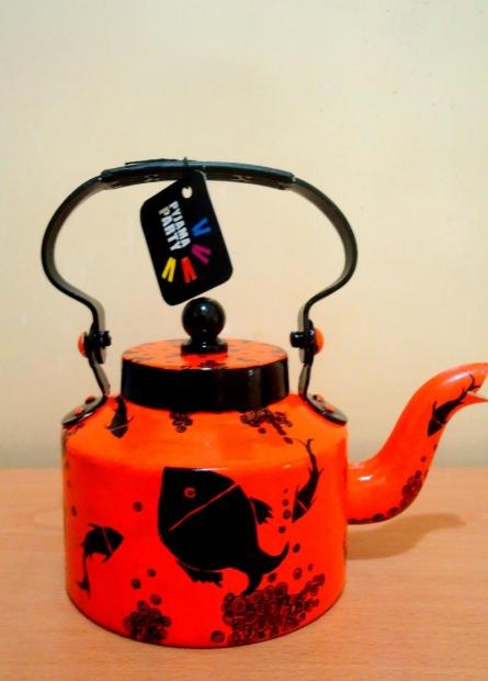 Something fishy Tea Kettle | Craft by artist Rithika Kumar | Aluminium