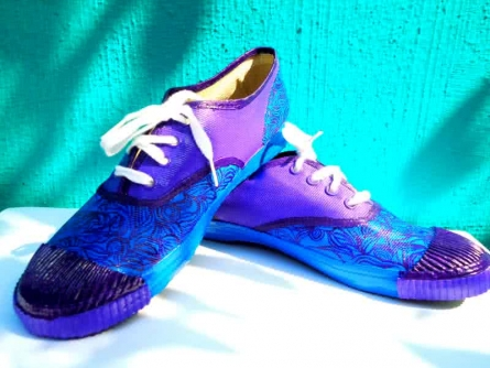 Brazen Blue Hand Painted Shoe | Craft by artist Rithika Kumar | Canvas