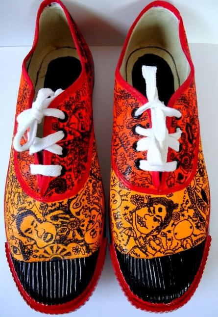 Rithika Kumar | Squiggles Hand Painted Shoe Craft Craft by artist Rithika Kumar | Indian Handicraft | ArtZolo.com