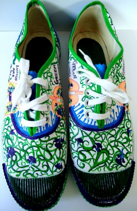 Go Green Hand Painted Shoe | Craft by artist Rithika Kumar | Canvas