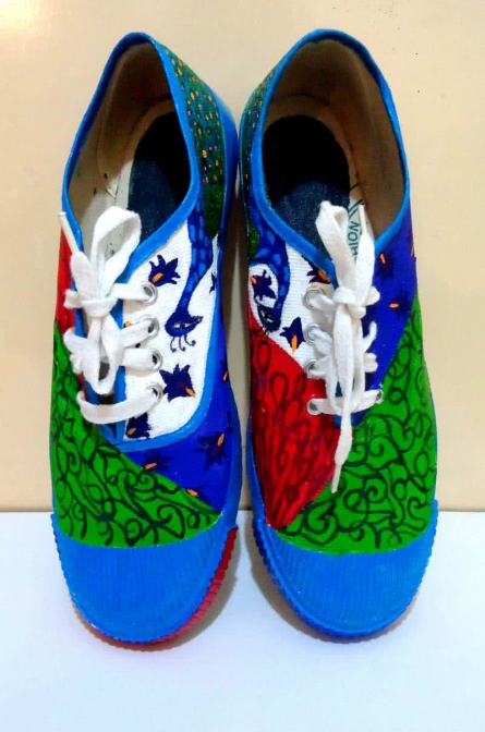 Peek a Boo Hand Painted Shoe | Craft by artist Rithika Kumar | Canvas