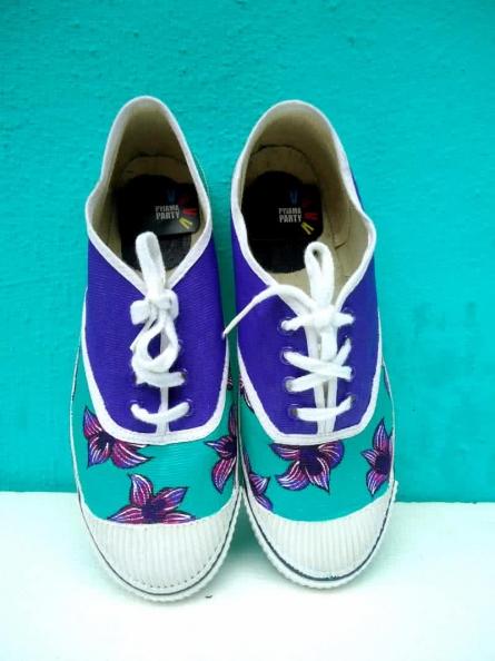 Purple Flower Hand Painted Shoe | Craft by artist Rithika Kumar | Canvas