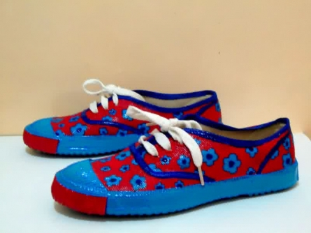 Floaty Flower Hand Painted Shoe | Craft by artist Rithika Kumar | Canvas