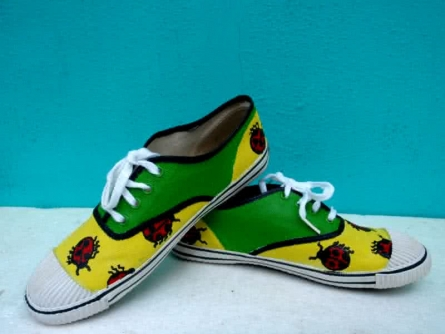 Beetle Hand Painted Shoe | Craft by artist Rithika Kumar | Canvas