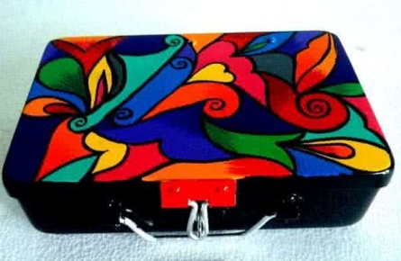 Color Swirl Trinket Box | Craft by artist Rithika Kumar | Aluminium