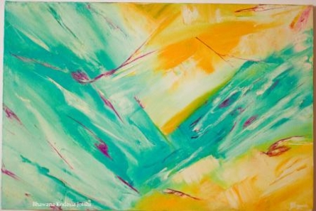 Fusion - Glittering Sunrays On An Ocean B | Painting by artist Bhawna Jotshi | oil | Canvas