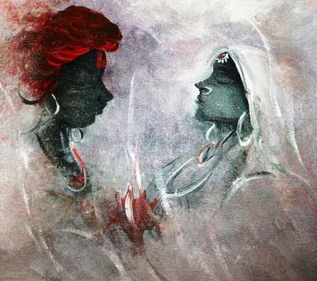Figurative Acrylic Art Painting title 'Love' by artist AYAAN GROUP