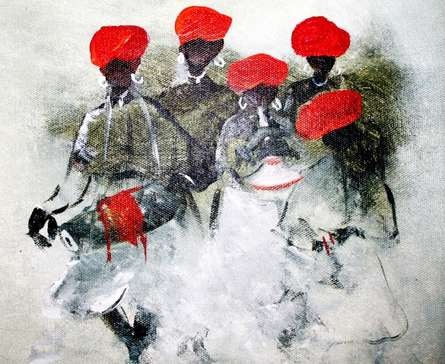 Figurative Acrylic Art Painting title 'Folk Music Iv' by artist Atma Group