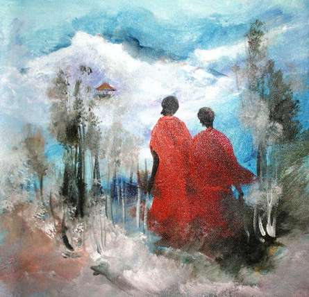 Monks | Painting by artist AYAAN GROUP | acrylic | Canvas