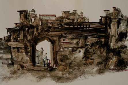 Place Watercolor Art Painting title 'Place 1' by artist AYAAN GROUP
