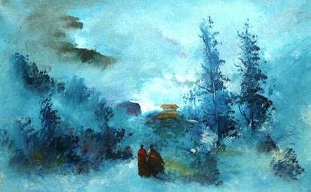 Landscape Acrylic Art Painting title 'Landscape +' by artist AYAAN GROUP