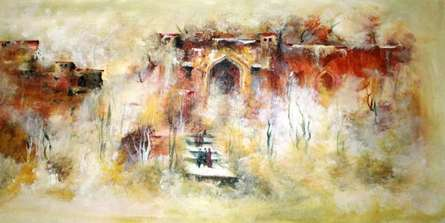 Landscape Acrylic Art Painting title 'Ancient Building' by artist AYAAN GROUP