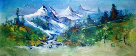 Landscape Acrylic Art Painting title 'Valley View' by artist AYAAN GROUP
