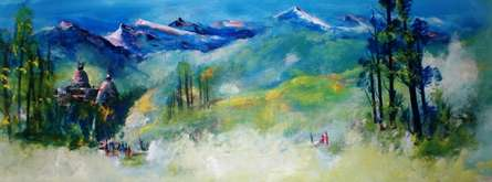 AYAAN GROUP | Acrylic Painting title Landscape on Canvas | Artist AYAAN GROUP Gallery | ArtZolo.com