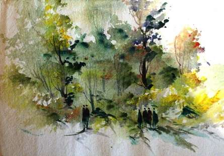 Landscape  | Painting by artist AYAAN GROUP | watercolor | Paper