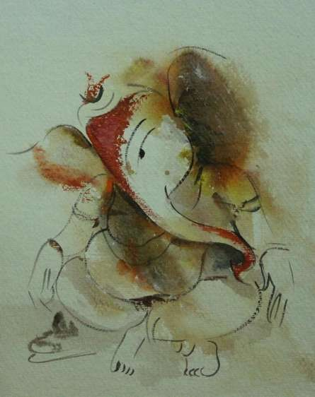 Religious Watercolor Art Painting title Ganesha by artist AYAAN GROUP