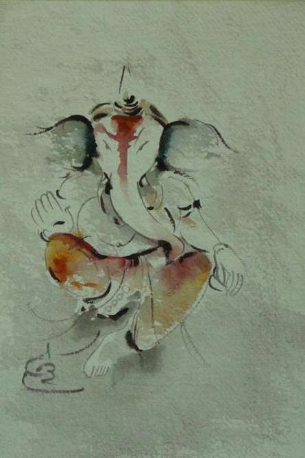 Religious Watercolor Art Painting title 'Ganesha ' by artist AYAAN GROUP