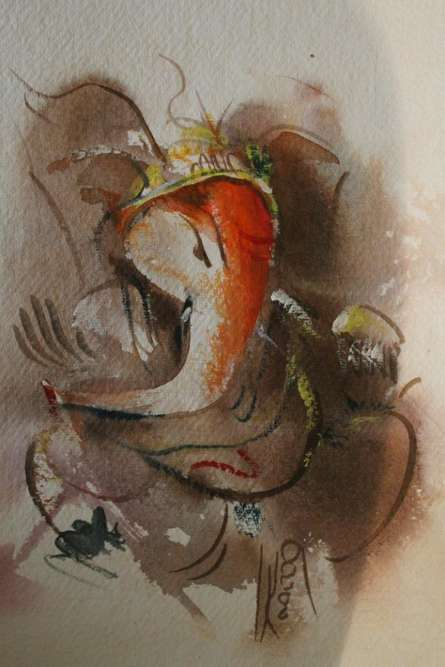 Religious Watercolor Art Painting title 'Ganesha' by artist AYAAN GROUP