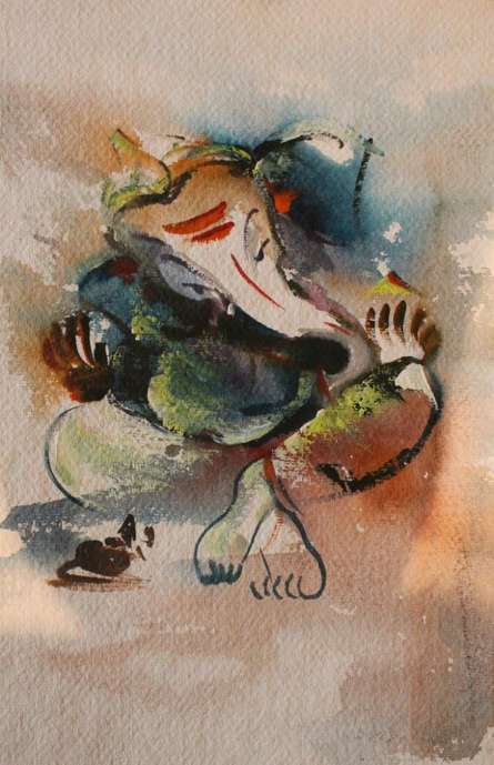 AYAAN GROUP | Watercolor Painting title Ganesha on Paper | Artist AYAAN GROUP Gallery | ArtZolo.com