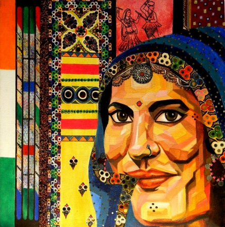 Traditional Woman | Mixed_media by artist Vidhi Shah | Jute