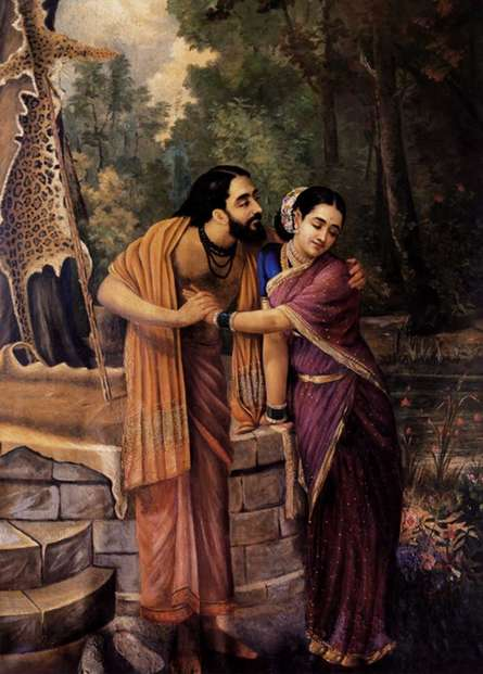 Figurative Oil Art Painting title 'Arjuna And Subhadra' by artist Raja Ravi Varma Reproduction