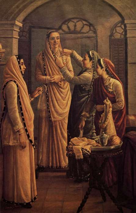 Figurative Oil Art Painting title 'Decking The Bride' by artist Raja Ravi Varma Reproduction
