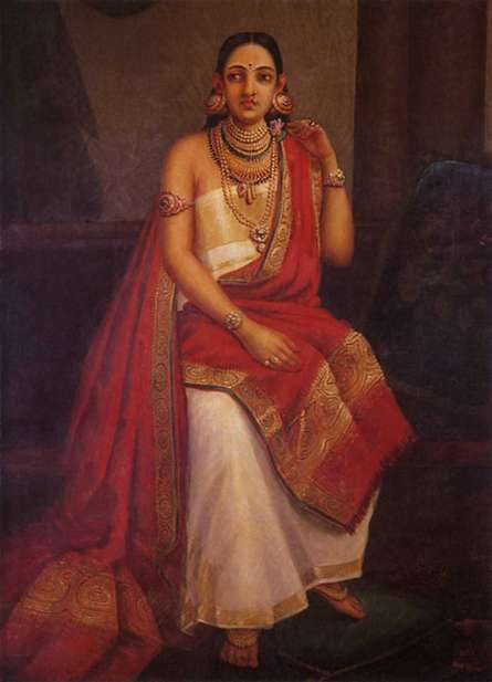 Figurative Oil Art Painting title 'Feigned Arrogance' by artist Raja Ravi Varma Reproduction
