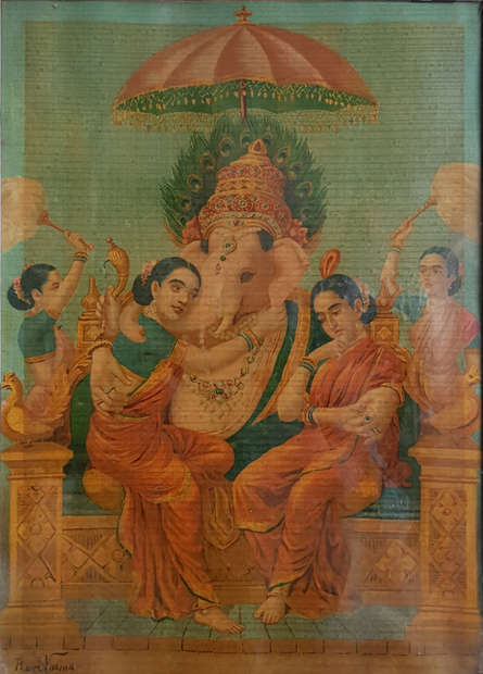 Religious Oleograph Art Painting title Ganesha With Conserts Riddi And Siddi by artist Raja Ravi Varma