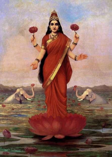 Figurative Oil Art Painting title 'Goddess Lakshmi' by artist Raja Ravi Varma Reproduction