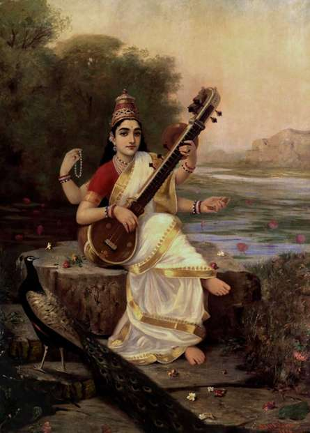 Figurative Oil Art Painting title Goddess Saraswathi by artist Raja Ravi Varma Reproduction