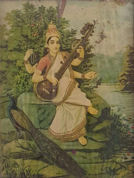 Religious Oleograph Art Painting title 'Goddess Saraswati 2' by artist Raja Ravi Varma