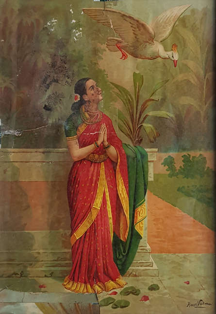 Figurative Oleograph Art Painting title 'Hamsa Damayanthi' by artist Raja Ravi Varma