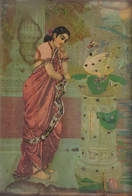 Religious Oleograph Art Painting title Hamsa Damayanti by artist Raja Ravi Varma