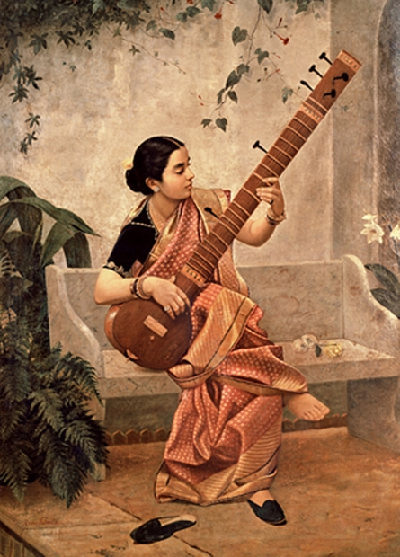 Figurative Oil Art Painting title 'Kadambari' by artist Raja Ravi Varma