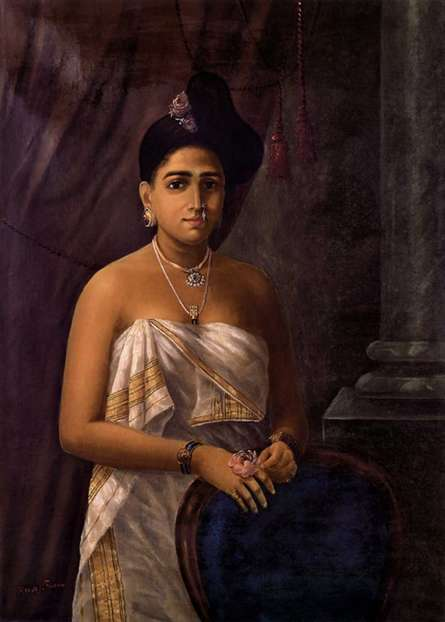 Figurative Oil Art Painting title Kerala Beauty by artist Raja Ravi Varma Reproduction