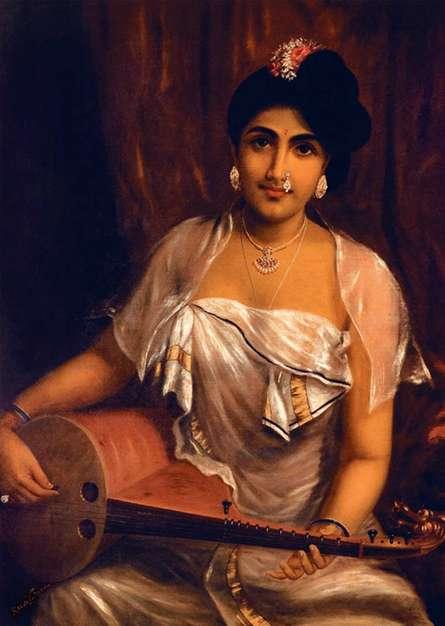 Raja Ravi Varma Reproduction | Oil Painting title Lady Playing The Veena on Canvas | Artist Raja Ravi Varma Reproduction Gallery | ArtZolo.com