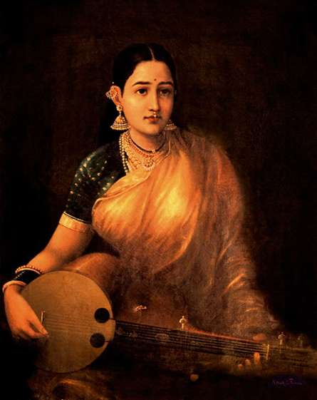 Lady With Swarbat | Painting by artist Raja Ravi Varma Reproduction | oil | Canvas