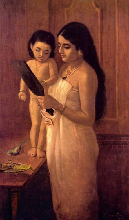 Figurative Oil Art Painting title 'Looking Into The Mirror' by artist Raja Ravi Varma Reproduction