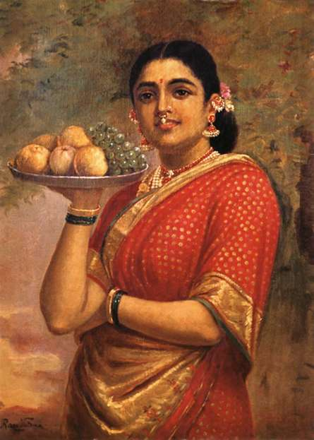 Raja Ravi Varma Reproduction | Oil Painting title Maharashtrian Lady on Canvas | Artist Raja Ravi Varma Reproduction Gallery | ArtZolo.com