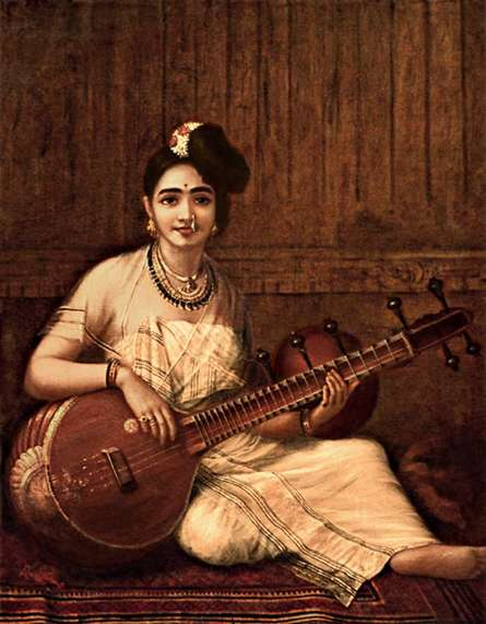 Malabar Lady With Veena | Painting by artist Raja Ravi Verma Reproduction | oil | Canvas